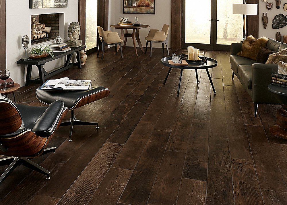 "48"" x 8"" Smoked Whiskey Oak Porcelain Tile"