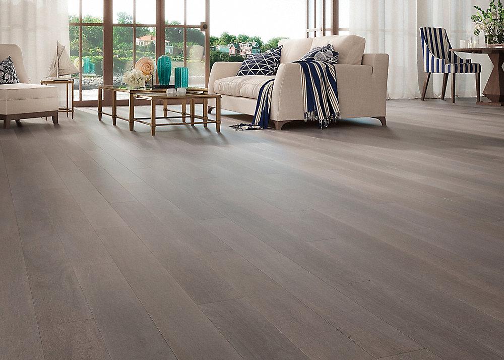 "3/8"" x 5"" Cannington Gray Brazilian Oak Distressed Engineered Flooring"