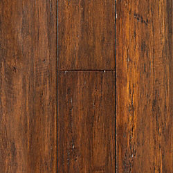Roasted Almond Strand Distressed Click Engineered Bamboo Flooring - 30 Year Warranty