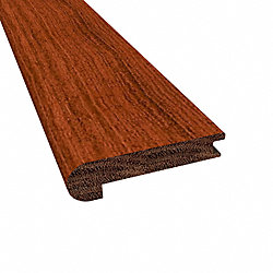 Prefinished Brazilian Cherry Cumaru Hardwood 1/2 in thick x 2.75 in wide x 78 in Length Stair Nose