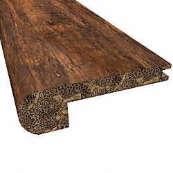Prefinished Roasted Almond Distressed Bamboo 3/8 in thick x 3.25 in wide x 72 in Length Flush Stair Nose
