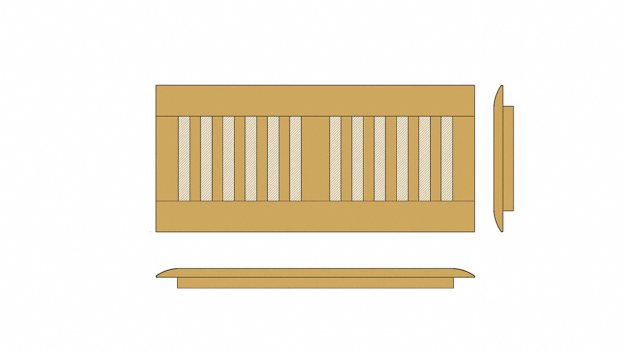 """4"""" x 12"""" Shadow Bamboo Drop In Grill"""